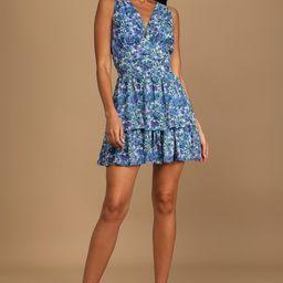 Sweet Type of Love Blue Floral Print Tiered Mini Dress | Lulus (US)