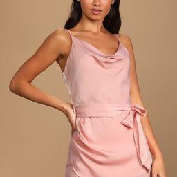Here for Us Blush Pink Satin Cowl Neck Mini Dress | Lulus (US)