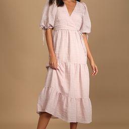 Capture Your Heart Blush Tiered Puff Sleeve Midi Dress | Lulus (US)