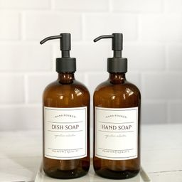 16oz Glass Soap Dispenser, Dish Soap Bottle With Waterproof Label, Hand Soap Pump, Refillable Soa... | Etsy (US)