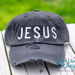 Jesus Hat, Custom Trucker hat for women, Distressed Baseball Cap, Jesus Ponytail hat, Jesus Dad H... | Etsy (US)