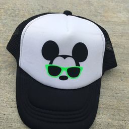 Disney Mickey with sunglasses Trucker hats - dad and son caps - Mickey with aviator glasses - Dis... | Etsy (US)