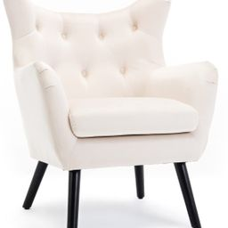 BELLEZE Wing Back Mid Century Button Tufted Chair Wood Legs Polyester Fabric Foam Padded Living R... | Amazon (US)