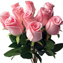 """jiumengya 10pcs Real Touch Rose Simulated Fake Latex Pink Roses 43cm/16.93"""" for Wedding Party Art... 
