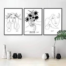 Picasso Canvas Wall Art Picasso Line Wall Art Home Decor Picasso Line Drawings Prints Picasso Pai... | Amazon (US)