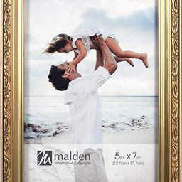 Malden International Designs Traditions Molding Wooden Picture Frame, 5x7, Gold | Amazon (US)