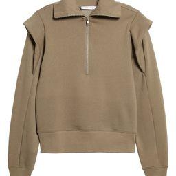 Shoulder Detail Half Zip Sweatshirt   Nordstrom   Nordstrom
