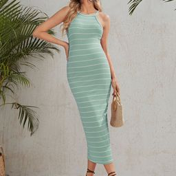 SHEIN Maternity Rib-knit Striped Dress | SHEIN