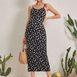 SHEIN Maternity Ditsy Floral Knot Front Slip Dress | SHEIN
