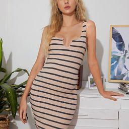 SHEIN Maternity Notch Neck Striped Nightdress | SHEIN