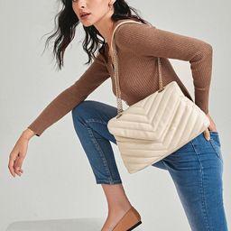 SHEIN BASICS Chevron Flap Shoulder Bag | SHEIN