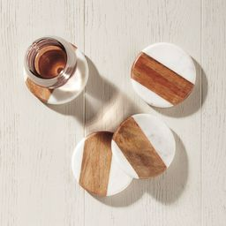 Wood and Marble Coasters (Set of 4) | Serena and Lily