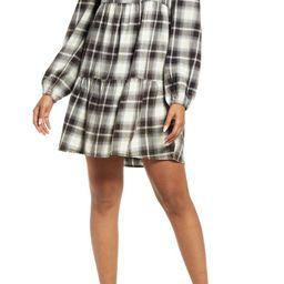 Plaid Long Sleeve Minidress   Nordstrom