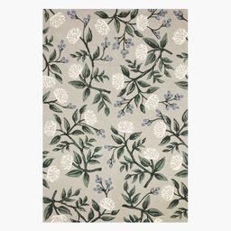 Peonies Grey Wool-Hooked Rug | Rifle Paper Co.