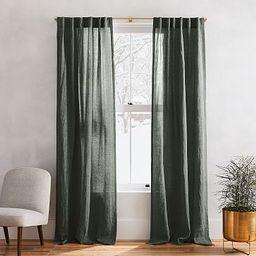 European Flax Linen Melange Curtain - Olive | West Elm (US)