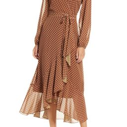 Polka Dot Wrap Front Long Sleeve Dress | Nordstrom
