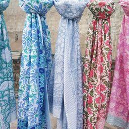 Hand Block Print Cotton Scarfs Beach Sarongs Soft Voile Fabric Summer Pareo Lot   Etsy (US)
