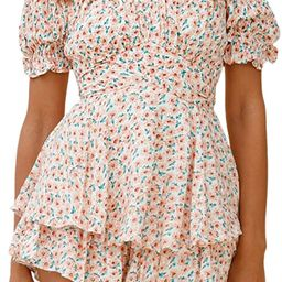 Linsery Romper Shorts for Women Summer Boho Strapless Ruffle Rompers Jumpsuits   Amazon (US)