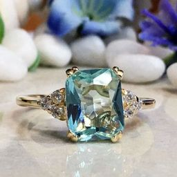 Aquamarine Ring - March Birthstone - Statement Ring - Gold Ring - Engagement Ring - Rectangle Rin... | Etsy (US)