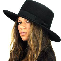 NYFASHION101 Wool Wide Brim Porkpie Fedora Hat w/Simple Band Accent | Amazon (US)