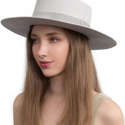 Fedora for Women Wool Felt Boater Hat Flat Top/Pork Pie Style Wide Brim Adjustable Vintage Classi...   Amazon (US)