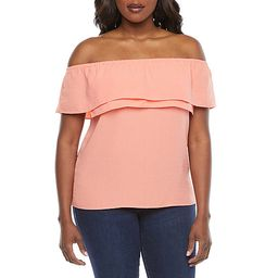 Bold Elements Womens Straight Neck Short Sleeve Layered Top | JCPenney