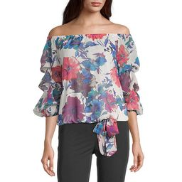 MSK Womens Off The Shoulder 3/4 Ruffle Sleeve Tie Blouse | JCPenney