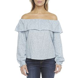 a.n.a Womens Straight Neck Long Sleeve Blouse | JCPenney