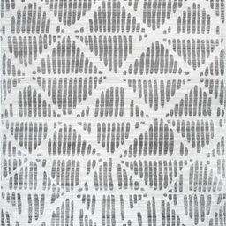 Light Gray Abstract Lattice 8' x 10' Area Rug | Rugs USA