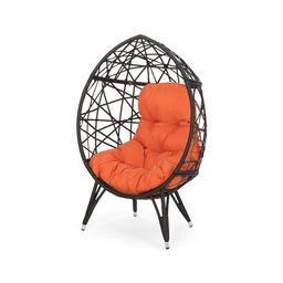 Palazzo Outdoor Wicker Teardrop Chair with Cushion by Christopher Knight Home   Overstock