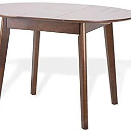 Dining Room Round Extendable Table Modern Solid Wood Medium Brown   Amazon (US)