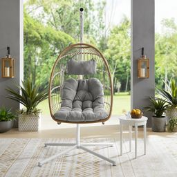 Manor Park Boho Rattan Hanging Chair with Cushion and Stand - Brown/Gray   Walmart (US)
