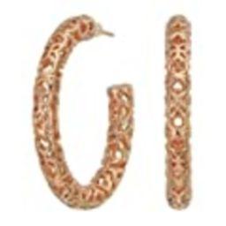 "Kendra Scott Maggie 1.5"" Hoop Earrings Rose Gold/Filigree Metal One Size   Amazon (US)"