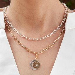 Vanna Adjustable Double Gold Silver Necklace with Opal Star Disc Pendant | Lizzy James Jewelry