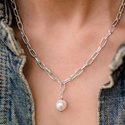 Daily Luxe Silver Adjustable Necklace with Creamy Pearl Pendant | Lizzy James Jewelry