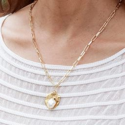 Daily Luxe 18k Gold Plated Necklace with Brahms Pearl Cross Pendant | Lizzy James Jewelry