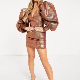 ASOS DESIGN super sleeve metallic open square back tux mini dress in gold | ASOS (Global)