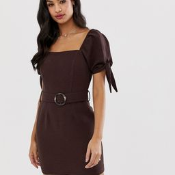 River Island dress with square neck in chocolate-Brown | ASOS (Global)