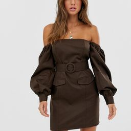 ASOS DESIGN off shoulder utility mini dress with pockets-Brown | ASOS (Global)