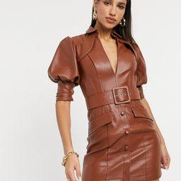 ASOS DESIGN PU Tux Dress-Brown | ASOS (Global)