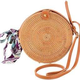 Round Rattan Bags Woman Handwoven Straw Purse Bag Crossbody Shoulder Leather Straps Natural Chic | Amazon (US)