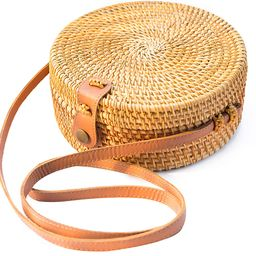 Handwoven Round Rattan Bag Shoulder Leather Straps Natural Chic Hand NATURAL NEO | Amazon (US)