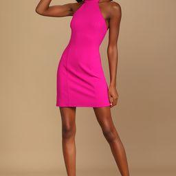 Striking Style Magenta Halter Bodycon Mini Dress   Lulus (US)