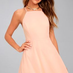 Letter of Love Blush Pink Backless Skater Dress   Lulus (US)