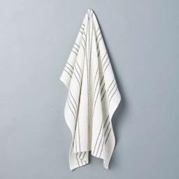 Stripe Flour Sack Kitchen Towel Sour Cream/Railroad Gray - Hearth & Hand™ with Magnolia   Target