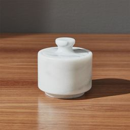 French Marble Salt Cellar with Lid + Reviews | Crate and Barrel | Crate & Barrel