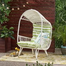 Malia Outdoor Cushioned Wicker Basket Chair by Christopher Knight Home - Brown + Tan Cushion | Overstock