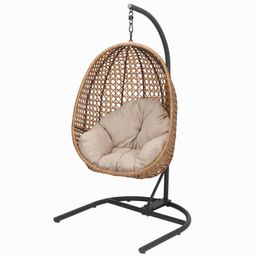 Better Homes & Gardens Lantis Patio Wicker Hanging Chair with Stand and Beige Cushion | Walmart (US)