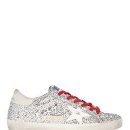 Golden Goose Superstar Glitter Low-Top Sneakers, Silver 40   INTERMIX