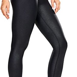 CRZ YOGA Women's Faux Leather Workout Leggings 25 Inches - Fashion High Waisted Yoga Pants with I... | Amazon (US)